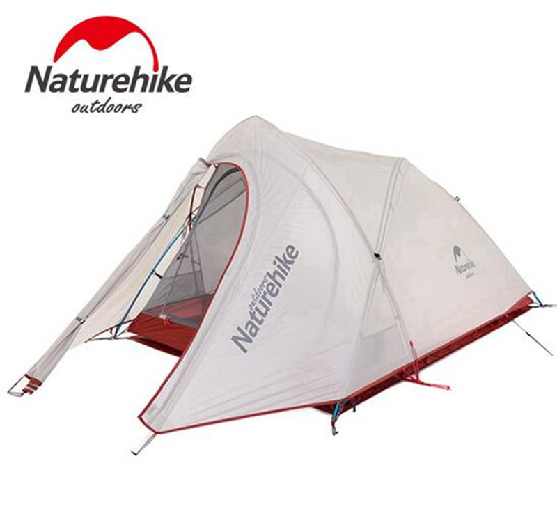 Naturehike Outdoor 2 Person Camping Hiking Backpacking Tent 20D Nylon Silicone Ultralight Tunnel Tents With Mat naturehike 1 2 person camping with free mat tent double layer waterproof 3season backpacking tent ultralight for outdoor camping