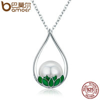 BAMOER 100 Genuine 925 Sterling Silver Lotus Flower Tear Pearl Pendant Necklace For Women Luxury Sterling