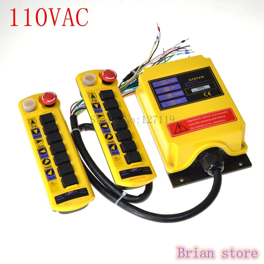 110VAC 2 Speed 2 Transmitter 7 Channel Control Hoist Crane Radio Remote Control System Controller110VAC 2 Speed 2 Transmitter 7 Channel Control Hoist Crane Radio Remote Control System Controller