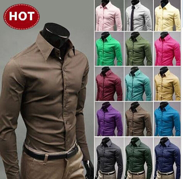 2015 hombre Camisa vestido de larga de Chemise manga 15 Fit para hombre camisas M 5XL Social Masculina nuevo Camisa hombres Slim Camisa colores para Homme Z1wfZr