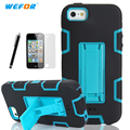 Shockproof Hybrid Armor Rubber Heavy Duty Case Cover For Apple iPhone 4/4S Stand Phone Cases w/Screen Protector+Stylus Pen