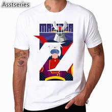 Asian Size Mazinger Z T Shirts Men Anime Old Classic Manga Robot Movie T-Shirt Black Basic Tees Shirt For Men HCP4489