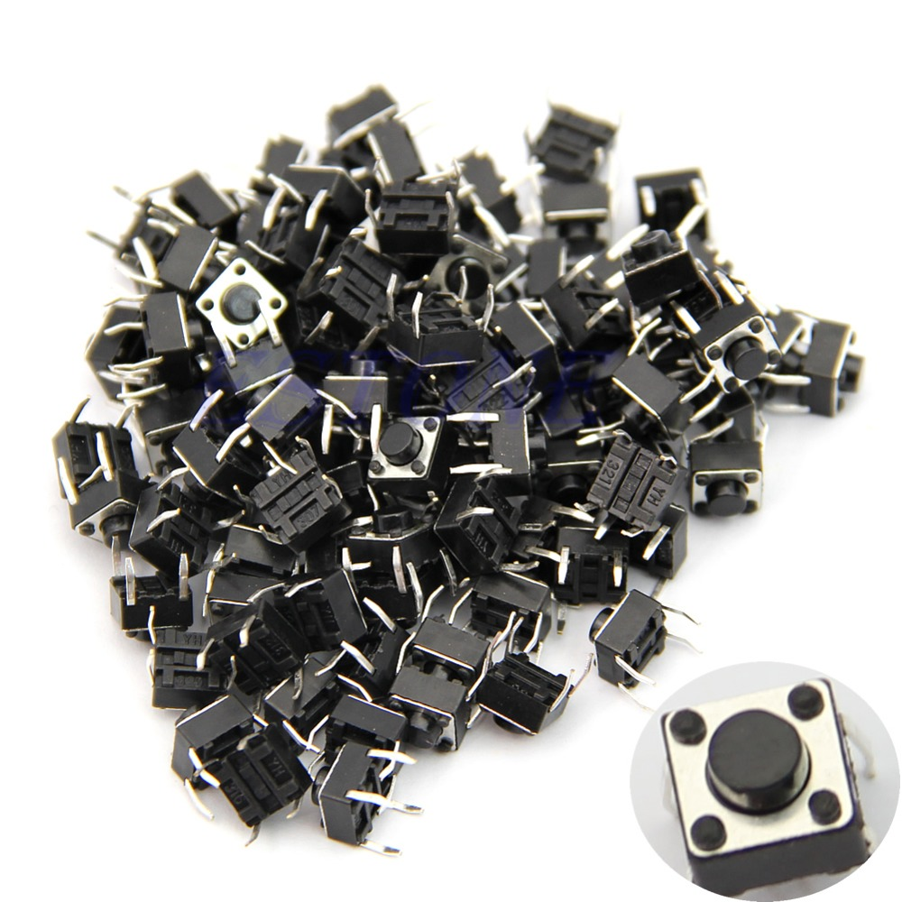 100pcs 6*6*5mm 4pin Quality Mini Micro Momentary Tactile Push Button Switch 50pcs smt 3x6x3 5mm 3 6 3 5mm tactile tact push button micro switch momentary