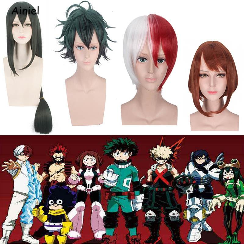 Anime My Hero Academia Cosplay Wig Asui Tsuyu Synthetic Long Short Hair Wigs Girls Boys Women Midoriya Izuko Deku Cosplay Props