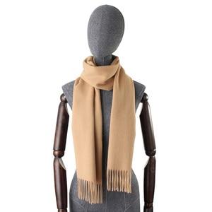 Image 2 - Bufandas de Cachemira de 100% liso para mujer, pañuelo grueso y cálido con borlas, para invierno, gran oferta