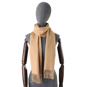 Image 2 - Women solid color plain 100% cashmere scarves with tassel lady winter thick warm scarf luxury high quality female shawl hot sale