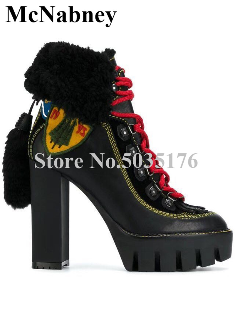 2019 European Fringe Round Toe High Square Heel Mid-Calf Platform Short Boots Cross-tied Lace-Up Spring/Autumn Women Shoes2019 European Fringe Round Toe High Square Heel Mid-Calf Platform Short Boots Cross-tied Lace-Up Spring/Autumn Women Shoes
