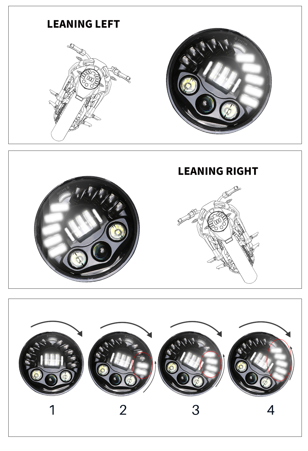 For Harley Yamaha 7 Motorcycle Adaptive Projector Daymaker Headlight LED Light (5)