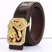 [BATOORAP] 2018 New Golden Dragon Real High Quality Men Belt Tungsten steel buckle Crocodile leather Belts Luxury Designer Belts