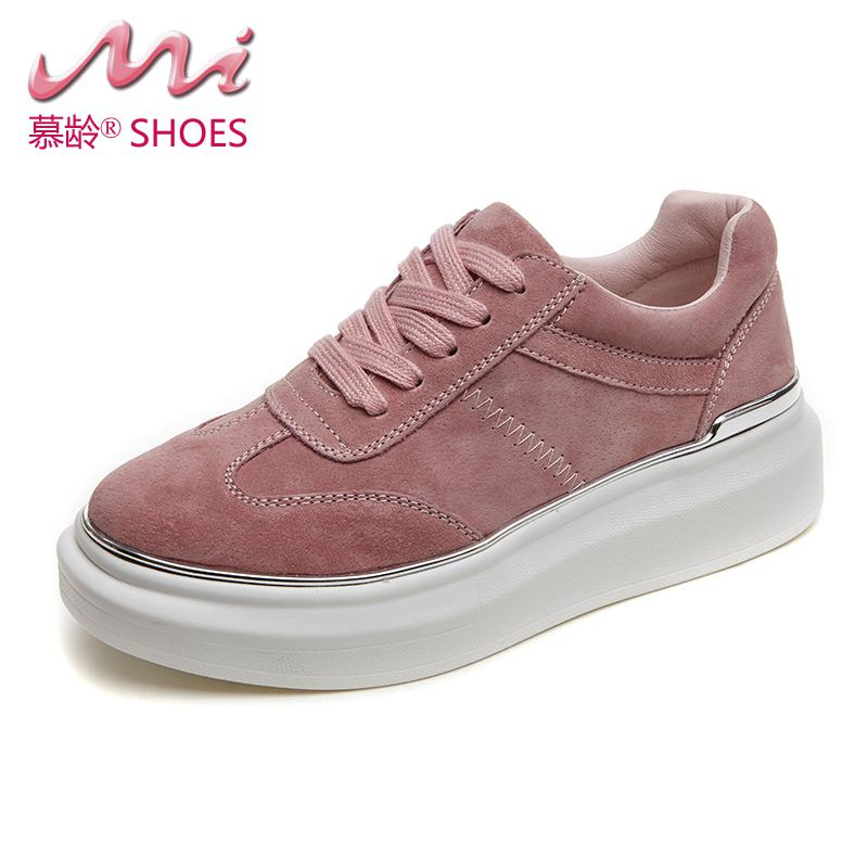 ФОТО 2017 New Casual Women Shoes Lace-up Spring&Autumn Flats Perfect Neutral Shoes Woman Cow leather Tenis Feminino