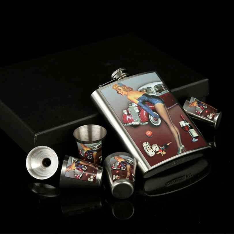 الفولاذ المقاوم للصدأ قارورة الورك قوارير ل الخمور هدية مجموعة مع مكافأة قمع و طلقة و هدية مربع (00411)