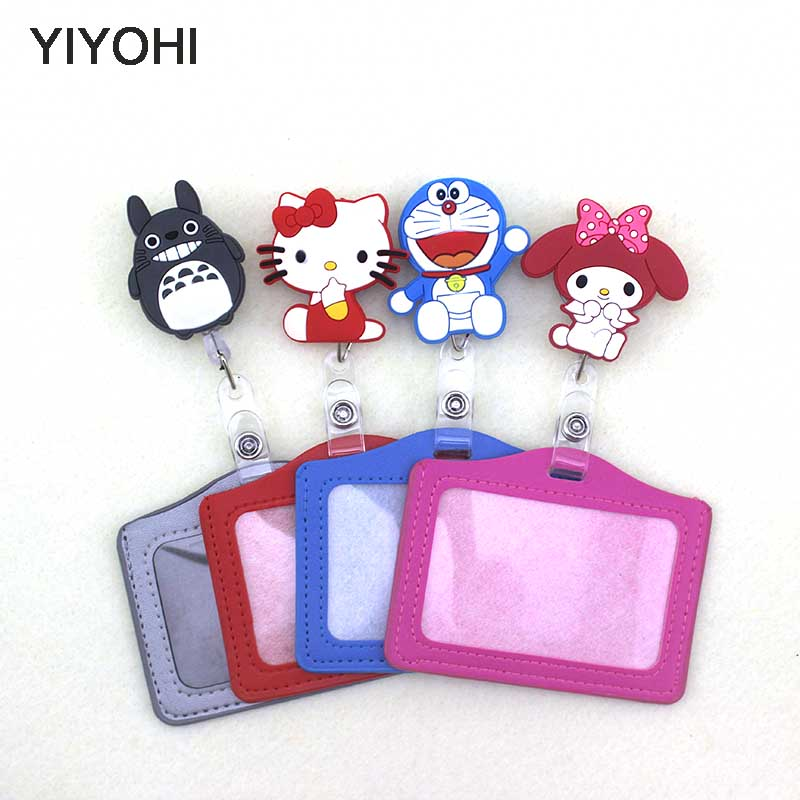 YIYOHI Silicone card case holder Bank Credit Card Holders Card Bus ID Holders Identity Badge with Cartoon Retractable Reel SKU02 hot portable silicone bus card case holder cute cartoon kitty cat care student id identity badge credit cards cover with lanyard