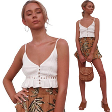 Women Deep V Neck Lace Crop Top 2019 New Summer Fashion Sexy White Backless Button Ruched Hollow Out Ruffle Camisole Crop Tops