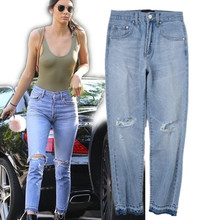freeshipping women pencil jeans 2017super star same vintage Hole in the knee ripped skinny medium waist ankle lenght denim jeans