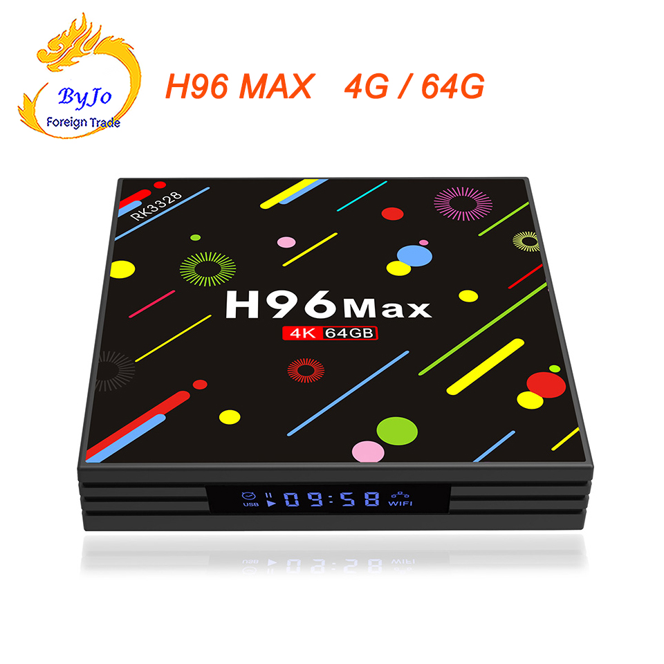 H96 MAX 4G RAM 64G ROM Android 7.1 smart TV box 2.4G and 5G WIFI Rockchip RK3328 Quad-core Support H.265 UHD BT 4K