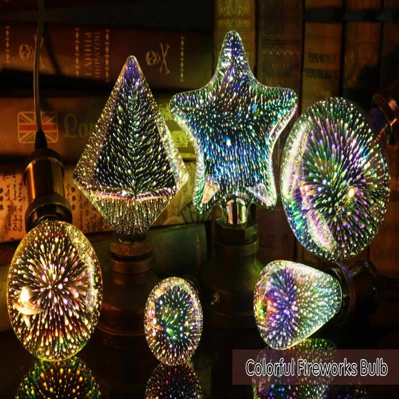 Led Light Bulb 3D Decoration Bulb 220V ST64 G95 G80 G125 A60 E27 Holiday Lights Novelty Christmas Lamp Lamparas
