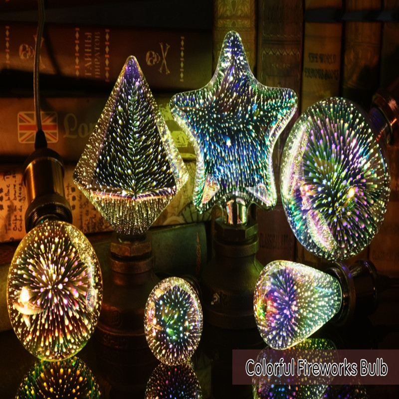Led Light Bulb 3D Decoration Bulb 220V ST64 G95 G80 G125 A60 E27 Holiday Lights Novelty Christmas Lamp Lamparas-in LED Bulbs & Tubes from Lights & Lighting