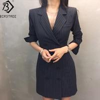 2018 New Arrival Ladies DRESS Dark blue stripe and GRAY Plaid dress Women Empire Fashion Elegant Women Casual Slim D85610X