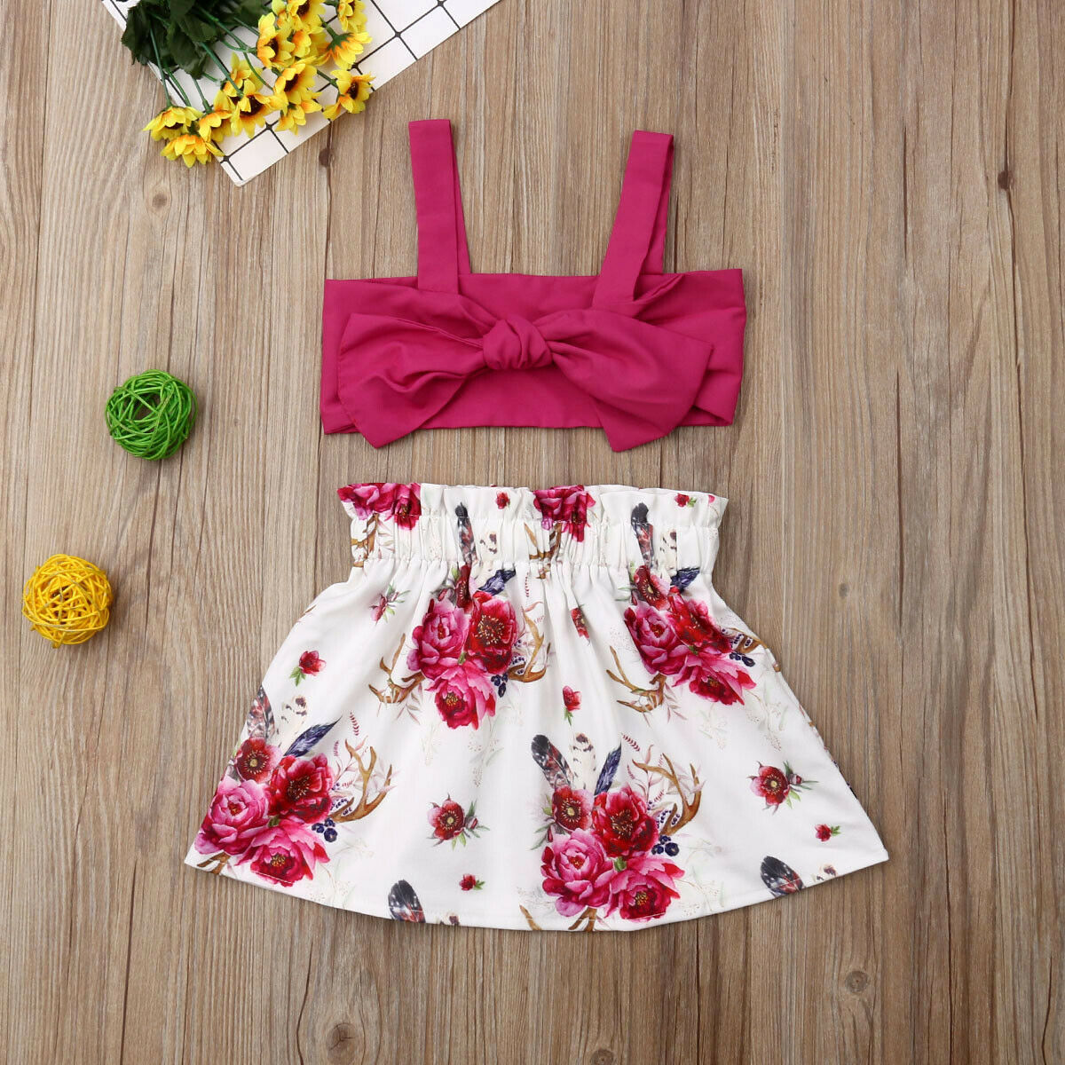 UK 2PCS Toddler Kids Baby Girl Summer Floral Tops Ruffle Dress Outfits Sunsuit