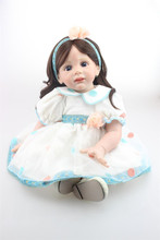 24″ 60CM Reborn Fridolin baby dolls soft silicone Reborn Toddler adora girl brown long hair boneca  brinquedos