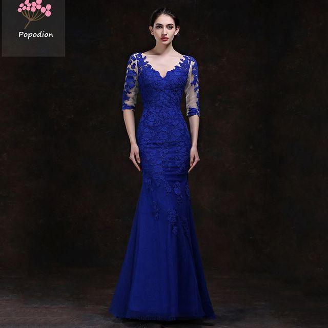 Robe de soiree bleu roi dentelle