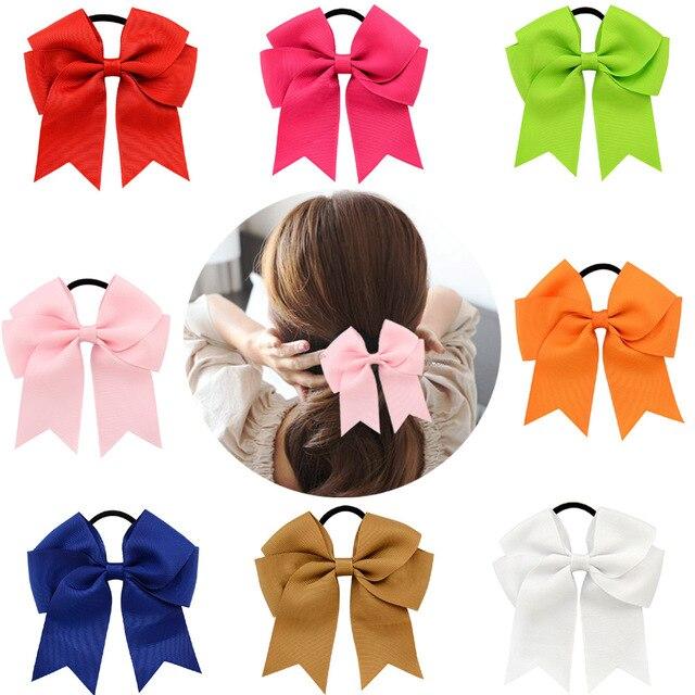 2018 Girls Cheerleading Bow Elastic Hair Bands child Ribbon Rope Ponytail Holder Kids Fabric School Girls Hair Accessories