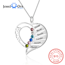 цены Mom's Gift Name Necklace Personalized Birthstone Engrave Name 925 Sterling Silver Necklaces & Pendants (JewelOra NE102362)