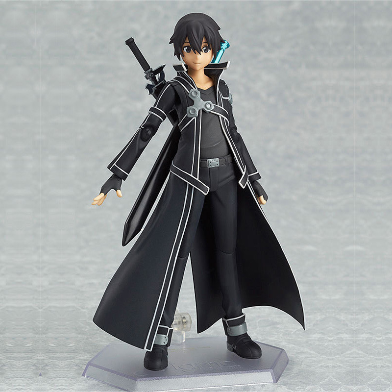New 15cm Sword Art Online Kirigaya Kazuto Kirito Figma Figure PVC Figurine CHN Ver/Model Doll With Sword Weapon sword art online alover kirigaya kazuto figma 289 figurine pvc action figures juguetes collection model kids toys