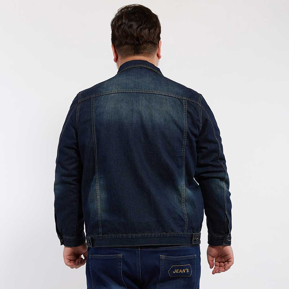 21837a6102c Large Plus Size Mens Distressed Denim Jacket Autumn Winter Outerwear  Trucker Dark Blue Male Jeans Jacket Masculino DJ7800-in Jackets from Men s  Clothing on ...