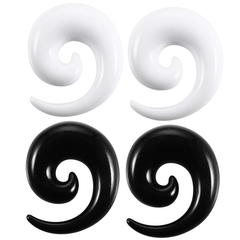 2 шт./лот акриловые спиральные ушные отверстия черные и белые ушные конические растягивающиеся заглушки и туннельные Расширители пирсинг ю...