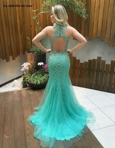 Image 2 - Vestido formatura longo new tulle crystal halter turquoise mermaid prom dres luxury Tulle Long Pageant evening dress Party Gowns