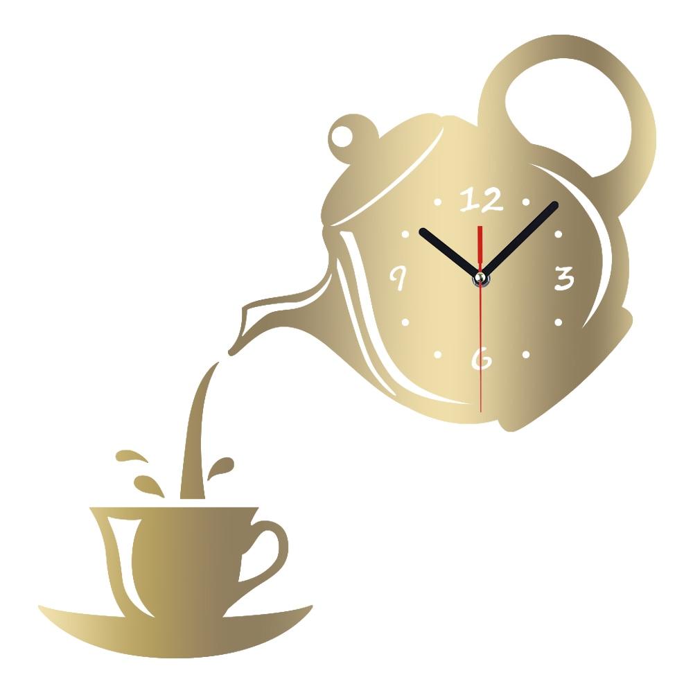 Us 14 88 Meya Diy Wall Clock Acrylic Coffee Cup Teapot Shape Decorative Kitchen Clocks Living Room Dining Home Decor In