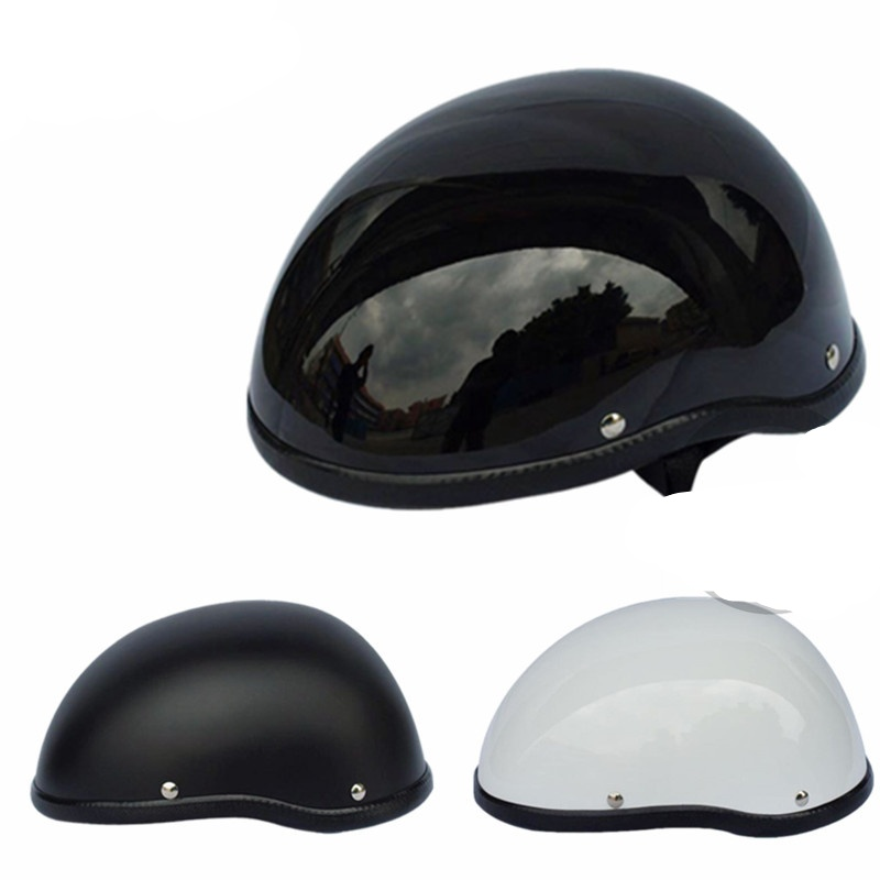 Matte Black Motorcycle Half Helmet Skull Cap Low Profile