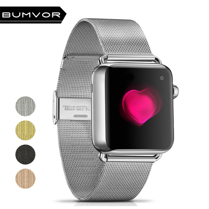 BUMVOR Milanese Loop Stainless Steel Watchband for Apple Watch Series 4 44/40MM Double Buckle 42/38MM Strap For iwatch 4/3/2/1 все цены