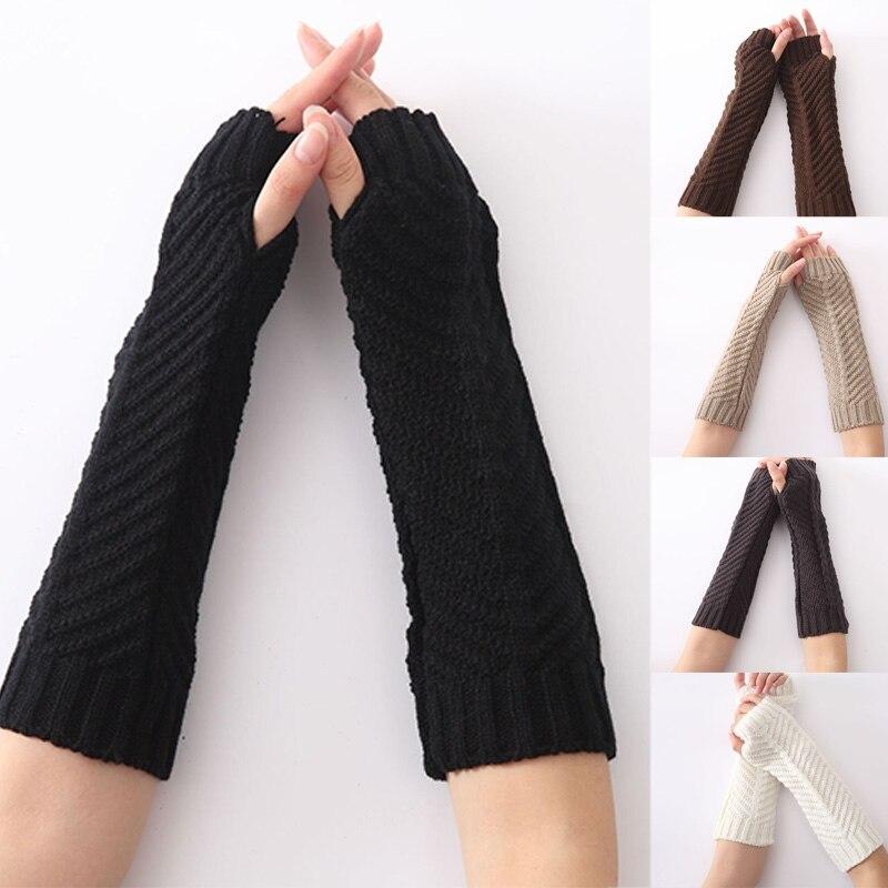 Damen-accessoires Frauen Herbst/winter Einfarbig Arm Warmer Knit Lange Fingerlose Handschuhe