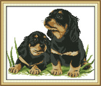 Two Dogs DMC Counted Cross-Stitching 11CT Printed 14CT Handmade Cross Stitch Set Animals Cross-stitch Kits Embroidery Needlework