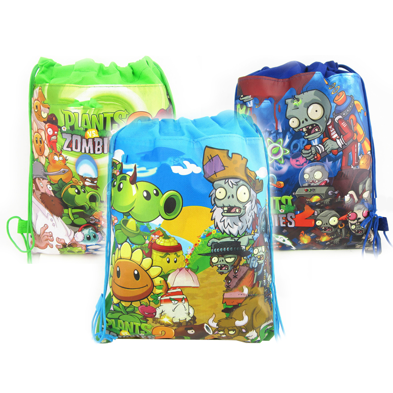 10PCS Baby Shower Party Backpack Boys Favors Decorate Mochila Birthday Plants Vs Zombies Theme Blue Green Drawstring Gifts Bags