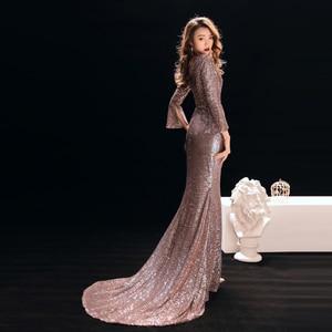 Image 2 - ללכת לידך ערב שמלות לנשים רוז זהב בת ים סקסי עמוק V צוואר נצנצים בלינג ארוך שרוולים לטאטא רכבת שמלות נשף