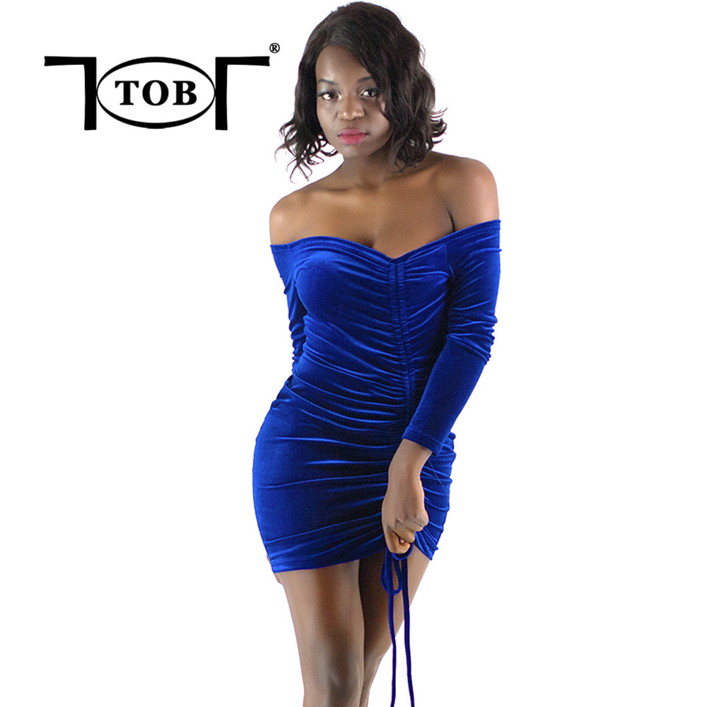 Tob Sexy Off The Shoulder Velvet Ruched Long Sleeve Women -6568