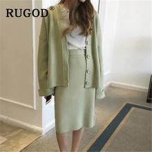 RUGOD Elegant ladies 2 pieces knitted suits Korean chic new single-breasted women cardigan & hight waist sweater skirts female