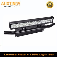 20 polegada 126w combo led barra de luz + barra de touro amortecedor dianteiro suporte da placa licença para caminhões offroad 4wd 4x4 carro trator