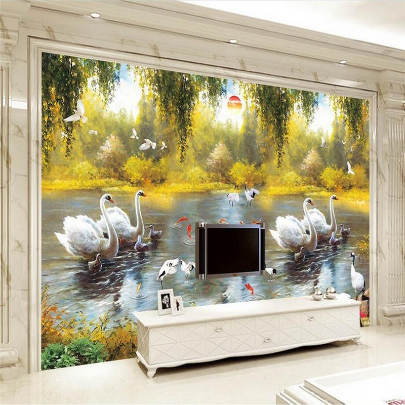Custom Any Size Textured Wallpaper Swan Lake Oil Painting European Style Wallpaper 3d Wall Murals TV Background Wall Mural iarts aha072962 hand painted thick texture of knife painting trees oil painting red 60 x 40cm