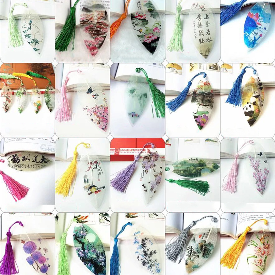 FangNymph Chinese Wind Natural Leaves Vein Bookmark Vintage Classical Elegance Tassel Bookmarks Creative Collectibles Stationery