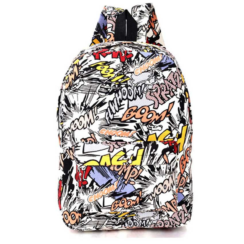 Unisex Canvas Backpack Students School Bags For Teenager Girls Boys Backpacks Street Graffiti Bag Cartoon Print