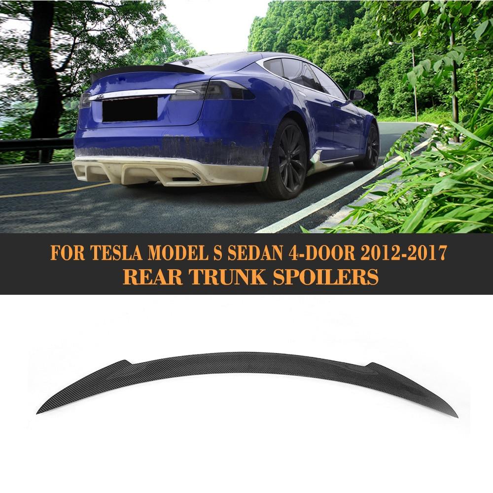 Carbon Fiber Rear lip Boot Spoiler wing For Tesla model S 60 70 75 85 90 D P85D P90D P100D 2012-2017 A Style Grey FRP for nissan skyline r32 gtr gtst frp fiber glass nismo trunk boot lip spoiler wing
