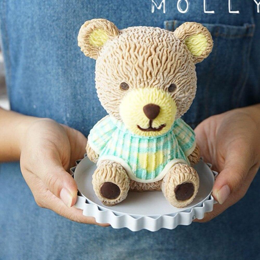 Силиконовые муссы 3D bear для торта, украшения мыла ручной работы, форма для свечей