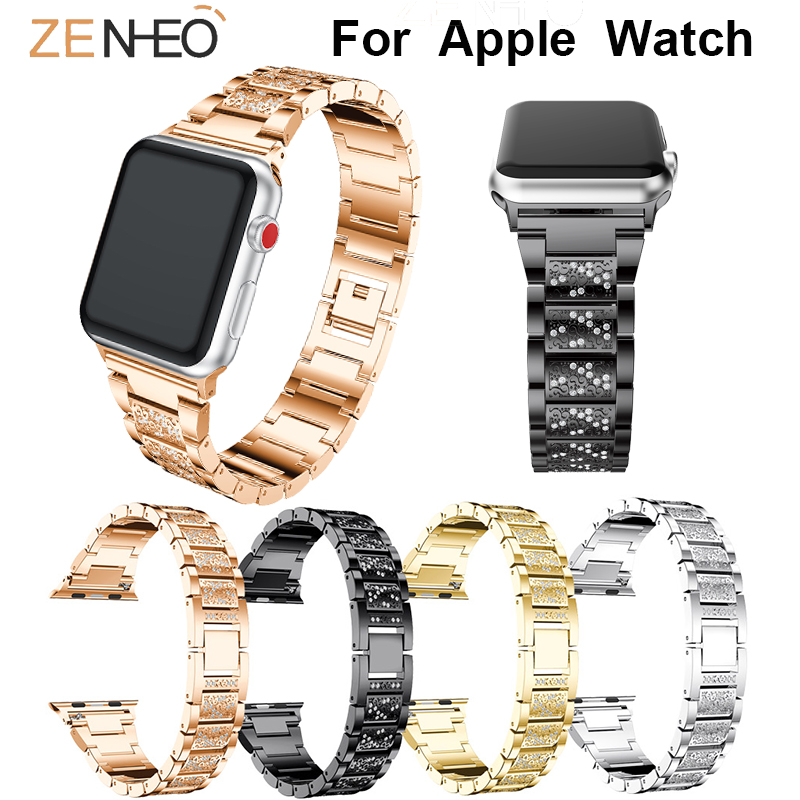 Metal Watch Band For Iwatch Series 4 3 2 1 40mm 44mm 42MM 38MM Rhinestone Wristbands For Apple Watch Bracelet Watches Straps