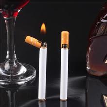 Портативная металлическая зажигалка, тонкая сигарета, модель с открытым пламенем, газ, наполнение, дым