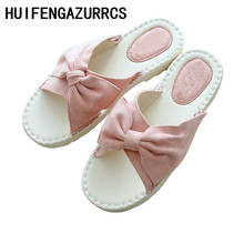 HUIFENGAZURRCS-Summer new beach slippers literary comfortable flat soft sole women's shoes,sweet bow knot small fresh slippers