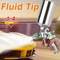 1.4mm HVLP Spray Gun Auto Paint Tool Gravity Feed SprayingGun Metal Flake Primer Nozzle with Gauge Car Coating Painting